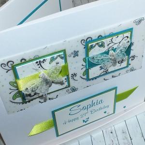 Birthday Card Bright Butterflies 19cm