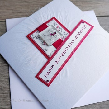 Diamonte Cat Birthday Card