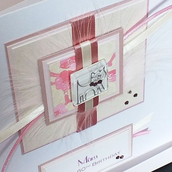 Pale Pink Cat Birthday Card - Large