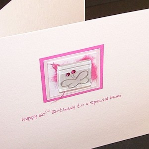 Pink Glass Butterfly Birthday Card
