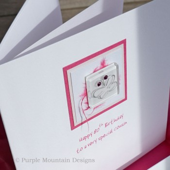 Pink Glass Butterfly Boxed Birthday Card
