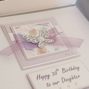 Lilac Butterflies Birthday Card - Larger size 19cm