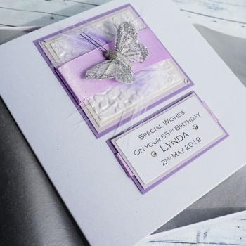 Lilac Ribbon Boxed Birthday Card
