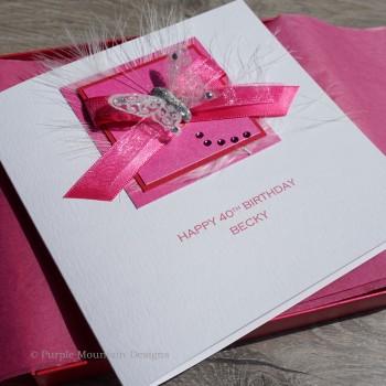 Pink Ribbons Birthday Card