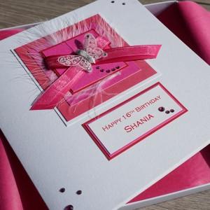 Pink Ribbons Birthday Card - Large