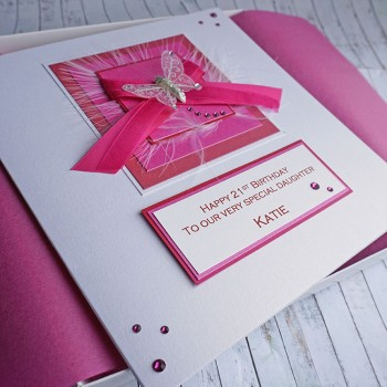 Pink Ribbons Birthday Card - Large