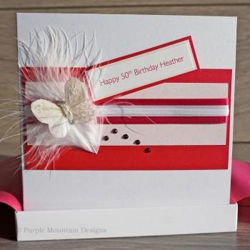Pink Butterfly Stripes Handmade Birthday Card
