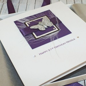 Purple Butterfly Handmade Birthday Card