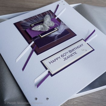 Purple Butterfly Birthday Card - Larger size 19cm