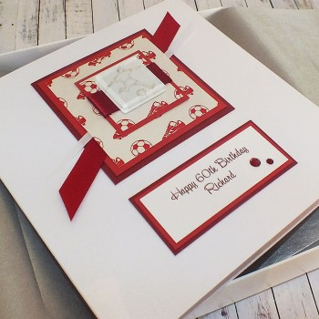 Boxed Football Birthday Card - Red
