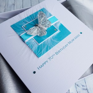 Silver Butterfly Handmade Birthday Card