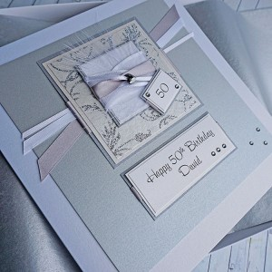 Silver Heart Birthday Card - larger size 19cm