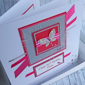 Silver & Pink Sparkle Birthday Card