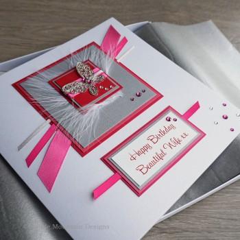 Silver & Pink Sparkle Birthday Card