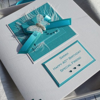 Turquoise Ribbons Birthday Card - Larger size 19cm