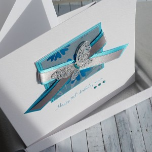 Teal Butterfly Birthday Card