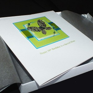 Handmade Boxed Birthday Card Teal & Lime