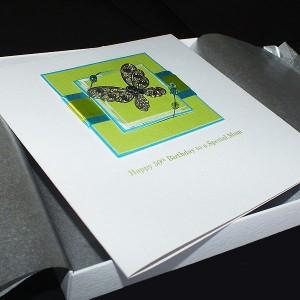 Handmade Boxed Birthday Card Teal & Lime