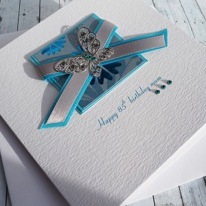 Handmade Birthday Card Teal Butterfly