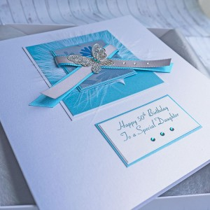 Teal Butterfly Birthday Card - Larger size 19cm