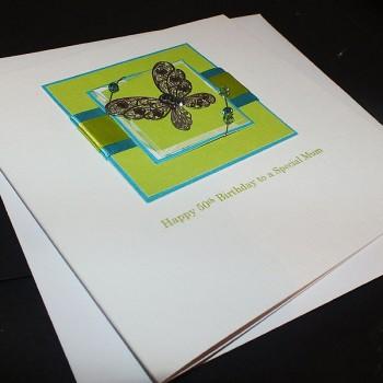 Handmade Birthday Card 'Teal & Lime'