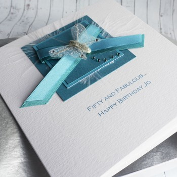 Turquoise Ribbons Birthday Card