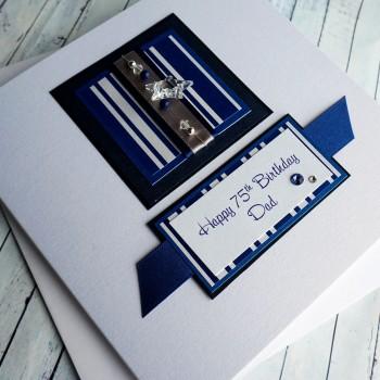 Blue Stripes Birthday Card