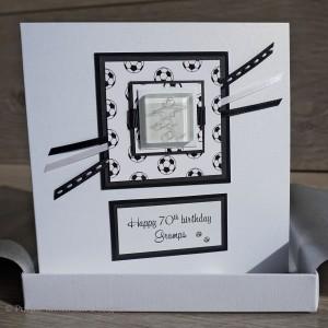 Boxed Football Birthday Card - Black/White