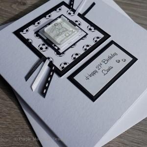 Football Birthday Card - Black/White