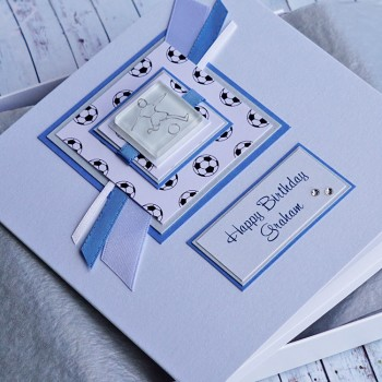 Football Birthday Card - Blue & White