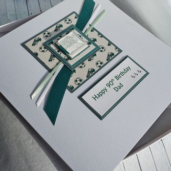 Football Birthday Card in Green  - larger size 19cm