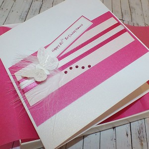 Pink Butterfly Stripes Handmade Birthday Card