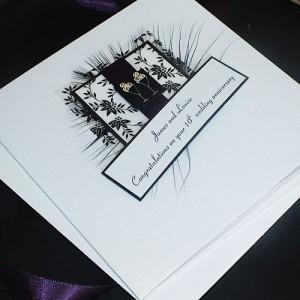 "Handmade Engagement Card ""Black Champagne Glasses"""