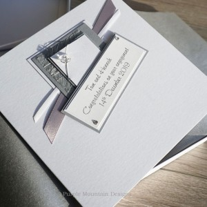 Silver Crystal Boxed Engagement Card