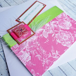 "Mother's Day Card ""Lime & Pink Flowers"""