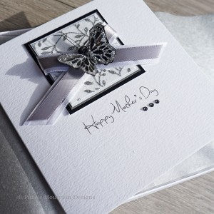 "Boxed Mother's Day Card ""Silver & Black Butterfly"""