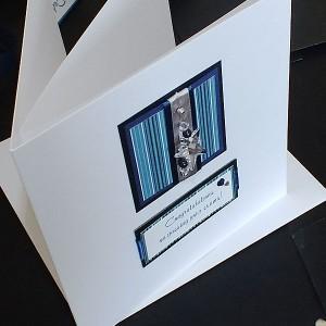 Blue Stripes Congratulations Card