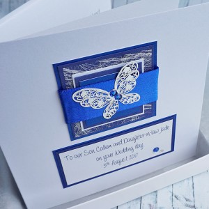 Blue Butterfly Boxed Wedding Card