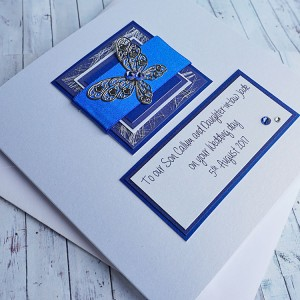 """Wedding Day Card """"Blue Butterfly"""""""
