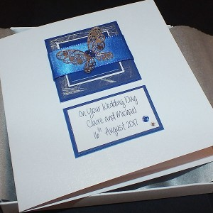 Blue Boxed Wedding Card
