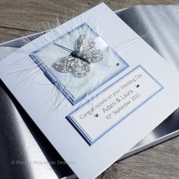 Blue & Silver Boxed Wedding Card