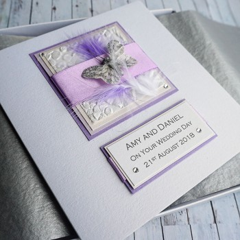 Lilac Feathers Wedding Day Card