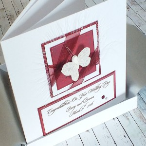 Red Organza Ribbons Boxed Wedding Card