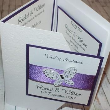 Harris Pocketfold Wedding Invitations - Purple