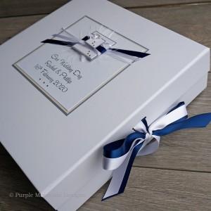 Wedding Keepsake Box - Classic blue & silver