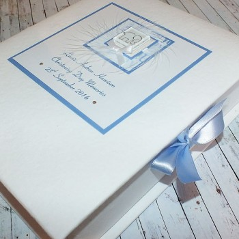 Blue Elephant Christening Keepsake Box