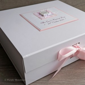Pink Elephant Christening Keepsake Box