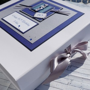 Blue stripes Birthday Keepsake Box