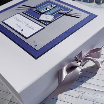 Blue stripes Birthday Keepsake Box