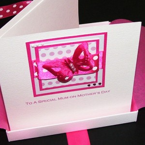 """Boxed Mother's Day Card """"Pink Polka Butterfly"""""""